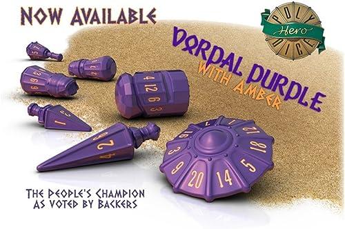 comprar descuentos PolyHero Dice  Warrior Set Set Set - Vorpal púrpura with Amber  primera vez respuesta