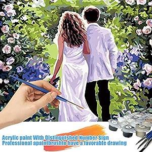 Acryl Gemälde 'Mit dir an meiner Seite' | handgemalte Leinwand Bilder | Liebes-Paar Spaziergang Skyline für Küche Schlafzimmer | Wandbild Acrylbild Moderne Kunst -Hochzeitsgeschenk