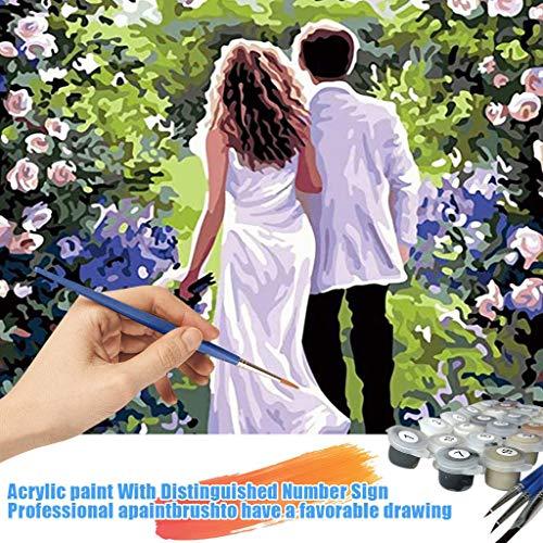 Acryl Gemälde 'Mit dir an meiner Seite'   handgemalte Leinwand Bilder   Liebes-Paar Spaziergang Skyline für Küche Schlafzimmer   Wandbild Acrylbild Moderne Kunst -Hochzeitsgeschenk