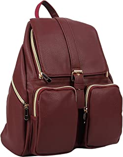 Women's Artificial Leather Backpack Casual Daypack for Ladies Wine