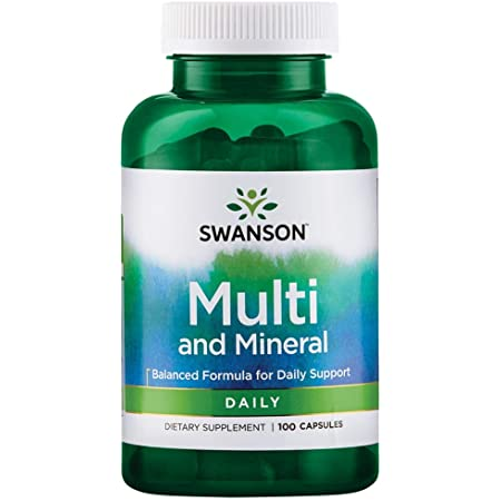 Swanson Multi and Mineral Daily Men's Women's Multivitamin Multimineral Health Supplement 100 Capsules (Caps)