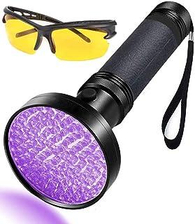 UV Flashlight 100 LEDs,LGUIY UV Light Torch Lamp 395nm Ultraviolet Blacklight with Sungl for Pet Dog Cat Urine Stains Insp...