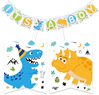 WERNNSAI Dinosaur Party Supplies - IT'S A BOY Banner Bunting Baby Shower Party Decorations for Boys Pre-strung