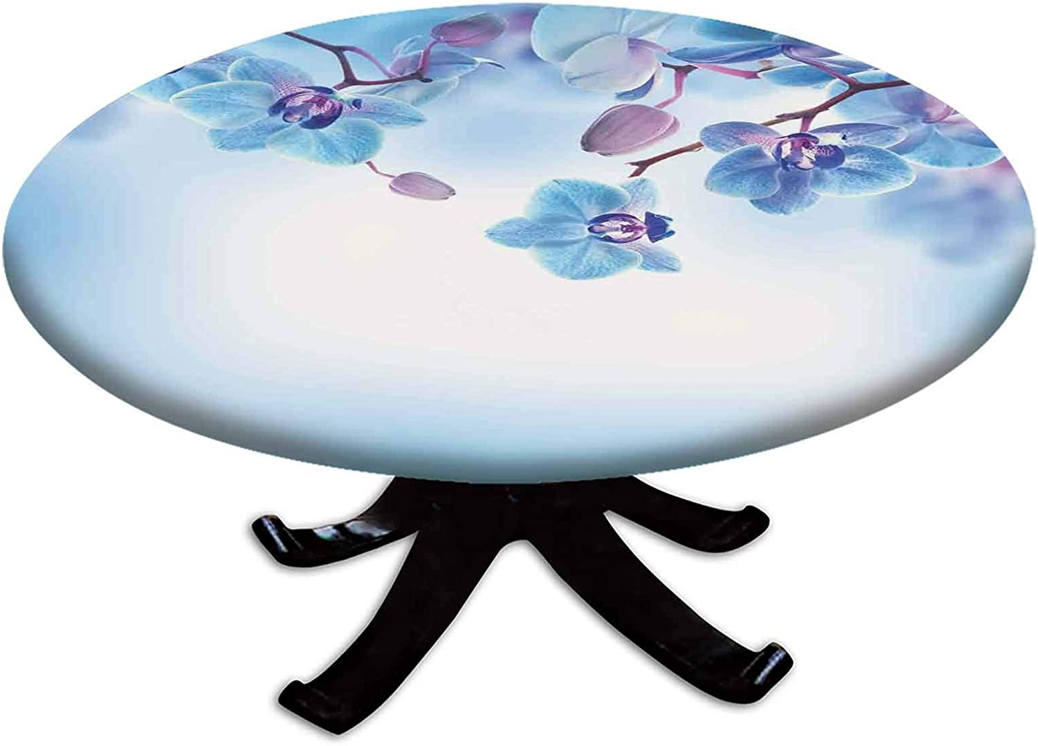 Elastic Edged Polyester Fitted Table Cover Asian 正規激安 大人気 Orchids Natural