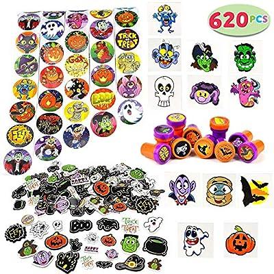 JOYIN Over 600 Pieces Halloween Craft Assortment Kit Including Halloween Temporary Tattoos Halloween Stickers, Halloween Stampers Foam Stickers for Halloween Party Faovrs Halloween Craft Supplies from Joyin Inc