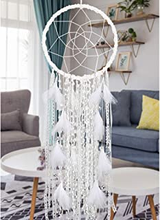 Extra Large Dream Catcher Kids Wall Hanging Decoration Handmade White Feather Boho Big Dreamcatchers with Bells Wedding Dream Catchers Bedroom Craft Ornament Gift (Dia 12
