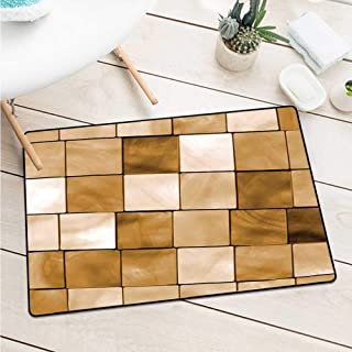 Wang Hai Chuan Beige Front Door mat Carpet Faded Tiles Wood Cubes Squares Geometric Inspired Modern Simple Urban Boho Art Decorative Catch dust Snow and mud W19.7 x L31.5 Inch Brown