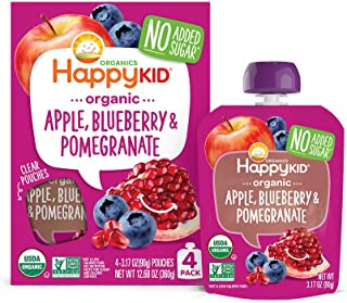 Happy Kid Organic Superfoods Twist Apple Blueberry Pomegranate, Baby Toddler Kid Snack, Resealable, No Added Sugar Non-GMO Kosher, 3.17 Ounce, Pack of 16 (Packaging May Vary)