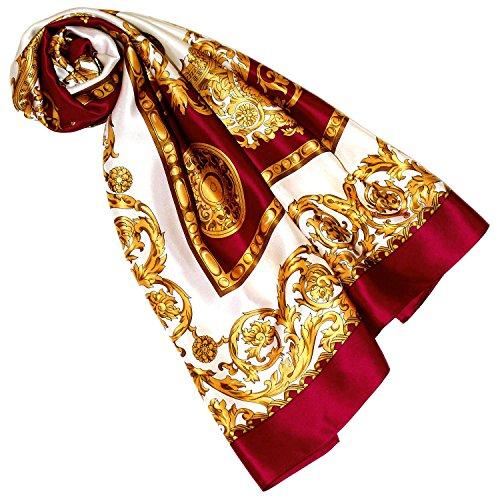 Lorenzo Cana Luxus Damen Seidentuch rot gold weiss Barocktuch 100% Seide 100 cm x 100 cm harmonische Farben Damentuch Schaltuch 8901088