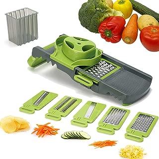 Smile Mom Mandoline Slicer Vegetable, 6 Blades Spiralizer Vegetable Slicer Veggie Chopper Dicer Cheese Cutter, Spiralizer Grater Professional Multifunctional, Potato Slicer Onion Cutter
