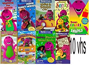 barney set 10vhs : Barney's Campfire Sing-Along, barney waiting for santa, Riding in Barney's Car, barney songs, Colors & Shapes , Barney - Sing and Dance with Barney, Barney's Adventure Bus (, Making New Friends, Barney Rhymes With Mother Goose