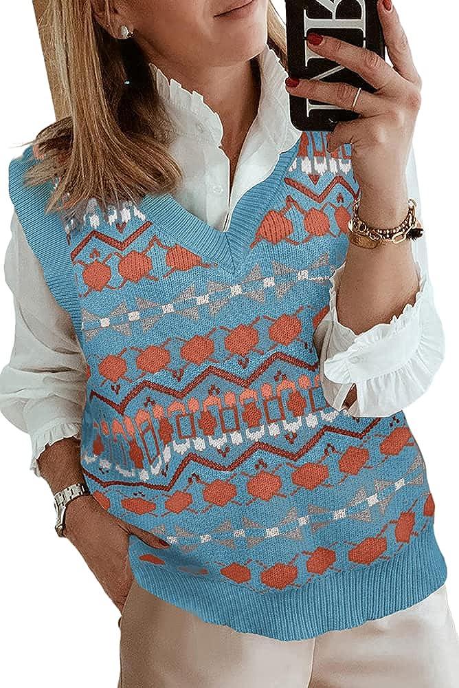 Women Y2K Sweater Vests Vintage Print Knit Sleeveless Pullover Preppy Style Knitwear Tank V Neck Oversized Knit Top