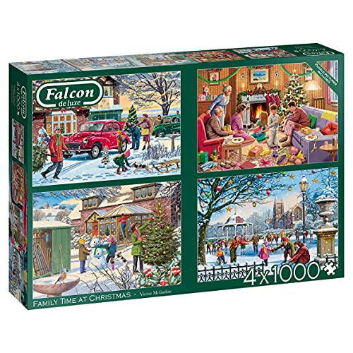 Jumbo, Falcon de luxe - Family Time at Christmas, Jigsaw Puzzles for Adults, 4 x 1,000 piece