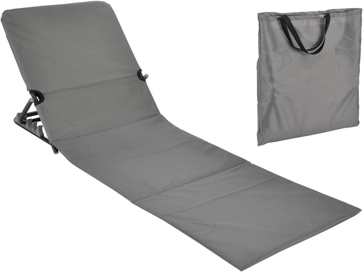Spetebo Strandmatte faltbar mit Rückenlehne – grau – Sonnenliege Strand Liege Matte Gartenliege