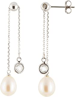 925 Sterling SIlver Earrings Dangling 9.5-10mm Handpicked AA Quality Cultured Freshwater Pearls CZ Accent