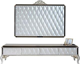 Casa Padrino gabinete de TV Barroco BlancoOroNegro 235 x 52 x A. 54 cm - Aparador de Madera Maciza Noble con Pared de TV...