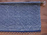 Saffron Marigold - Pacific Blue - Deep Navy Blue and White Ocean Wave Japanese Inspired Nautical Hand Printed - Sheer Cotton Voile Window Valance Curtain - Rod Pocket - (46 x 17 inches)