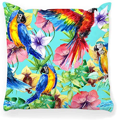 Funda de almohada decorativa Cuadrada 16x16 Patrón de trópicos África Base Pájaro Dibujo colorido Tela exótica Flores de moda Felicidad Joy Palm Decoración del hogar Funda de almohada con cremallera