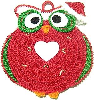 Agarradera roja de ganchillo en forma de búho para Navidad - Tamaño: 15 cm x 16 cm H - Handmade - ITALY