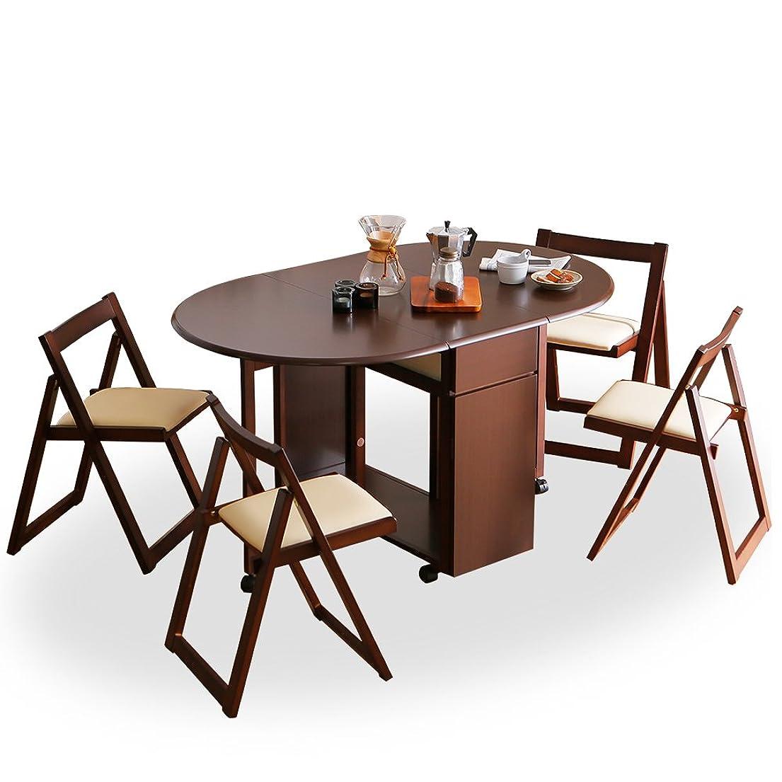 リンスバッテリー蘇生するLOWYA ダイニングテーブル 5点セット 完成品 伸縮 折り畳み コンパクトに収納 引き出し キャスター ブラウン おしゃれ 新生活