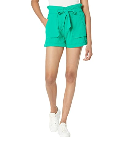 Blank NYC Cotton Voile Paperbag Cuffed Shorts in Four Leaf Clover