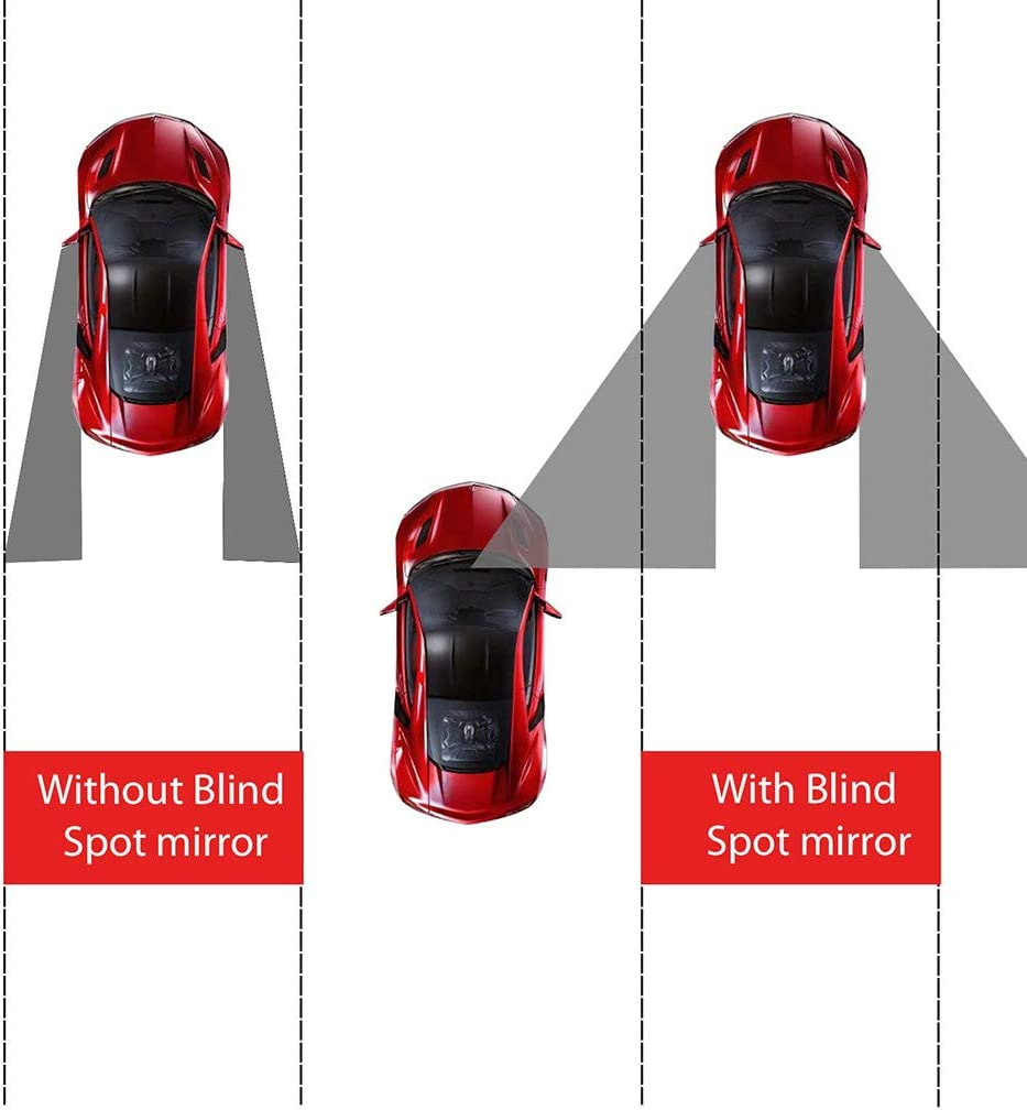 4pcs Blind Spot Mirror,2-inch Round Wide Angle HD Glass Convex Rear View Mirror,Angle Adjustable Blind Spot Mirror for Large Vehicles , Black frame 50mm Car Suv Trucks 2