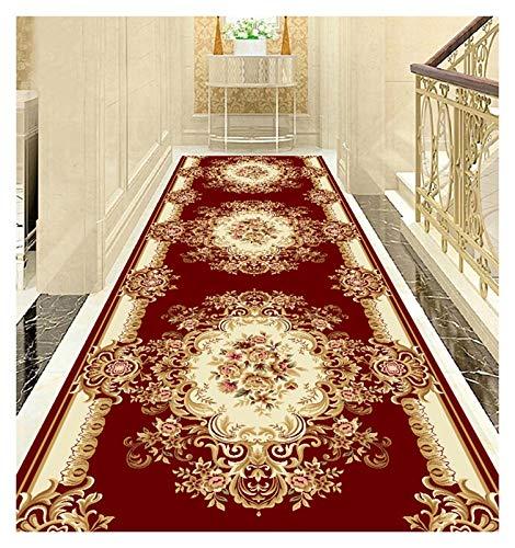 ditan XIAWU Korridorteppich Im Europäischen Stil Schlafzimmer Wohnzimmer Treppe rutschfest (Color : A, Size : 120x550cm)