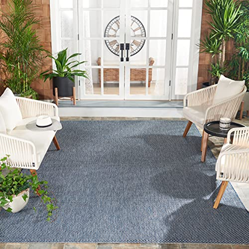 Safavieh Courtyard Collection CY8521 Indoor/ Outdoor Non-Shedding Stain Resistant Patio Backyard Area Rug, 8' x 11', Navy / Grey