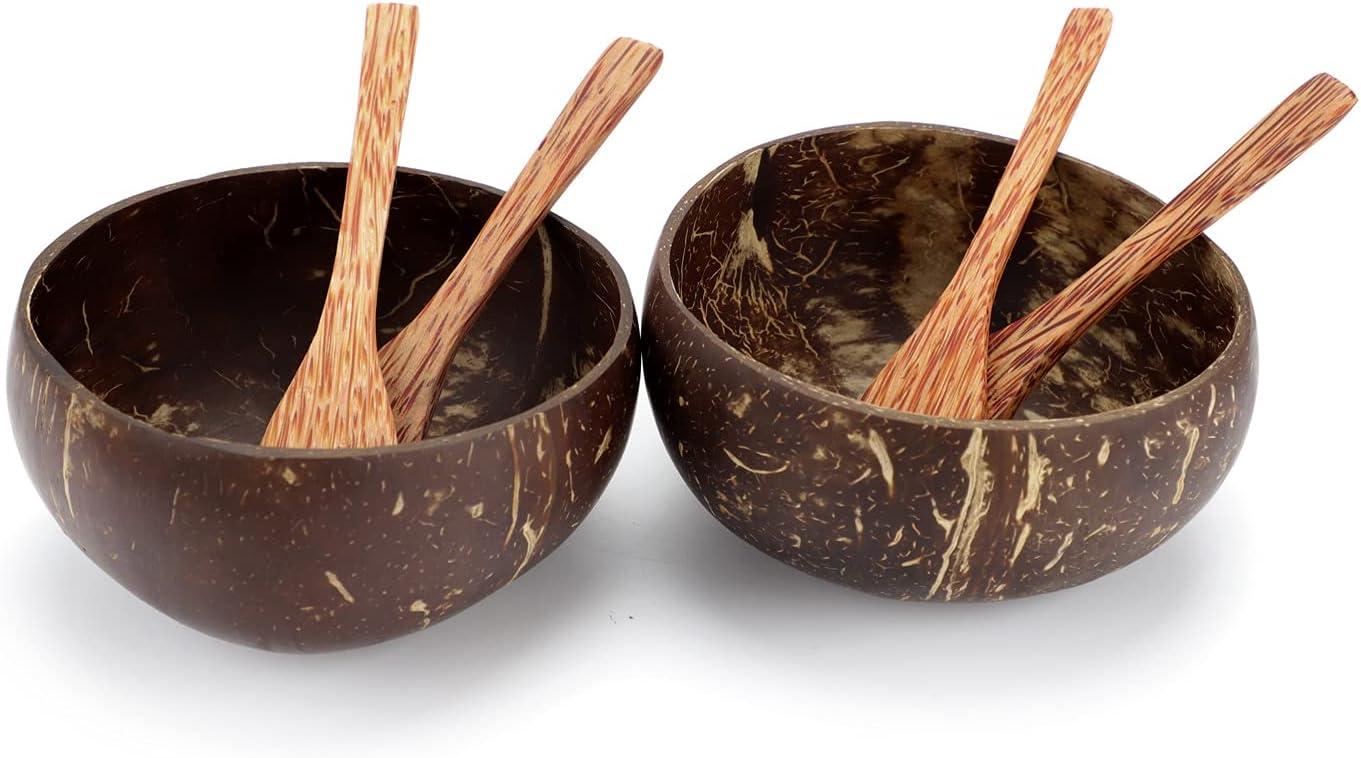 IVEOPPE Bol de Coco con Cuchara y Tenedor, Juego de 6 Piezas, Ensaladera Madera Duraderos y Ligeros Para la Familia