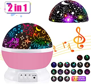Toys for Girls Unicorn Gifts for Girls Star Projector Night Light for Kids Wonderful Projection Lamp Music Toys Chirstmas Xmas Birthday Gifts for Girls Bedroom Age 1 2 3 4 5 6 7Year Old Baby Girls