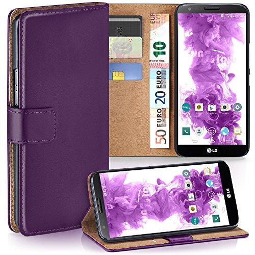 MoEx Premium Book-Case Handytasche passend für LG G2 | Handyhülle mit Kartenfach und Ständer - 360 Grad Schutz Handy Tasche, Lila