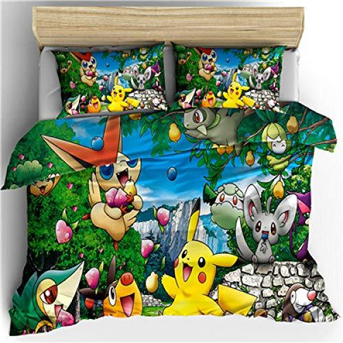 Rnvvaceo® 3-delat bäddset enkel storlek påslakan tecknad anime karaktär sängkläder set med dragkedja och hörn slipsar mjuka hudvänliga, sängöverkast för vuxna tonåringar barn 135 x 200 cm, Ad