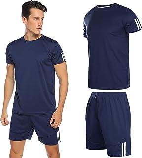 Conjunto de Chándales para Hombre Chandal Hombre Verano Ropa Deportiva Gym Camisa Mangas Cortas Pantalon Cortos Correr Trotar Caminar