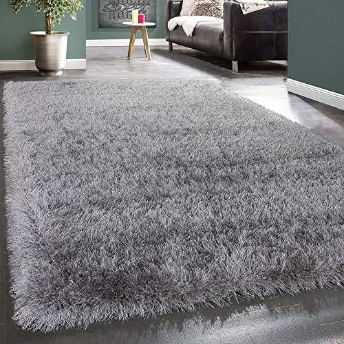Paco Home Moderner Wohnzimmer Shaggy Hochflor Teppich Soft Garn In Uni Hellgrau Grau, Grösse:240x340 cm