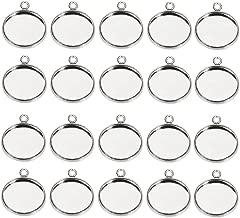 L/ünetten-Anh/änger von Bestomz Cabochons f/ür Bastelarbeiten und  Schmuckherstellung blanko Cabochon 25 mm Kamee-L/ünette 20 Sets quadratische L/ünetten-Anh/änger mit Glaskuppelfliesen