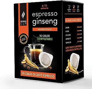 King Cup - 50 Dosettes de Café Ginseng, Dosettes Compatibles avec la Machine à café E.S.E. dm 44mm, Espresso Ginseng en Do...