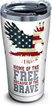 Tervis 1261375 Home of the Free Because of the Brave Stainless Steel Tumbler with Clear and Black Hammer Lid 20oz, Silver