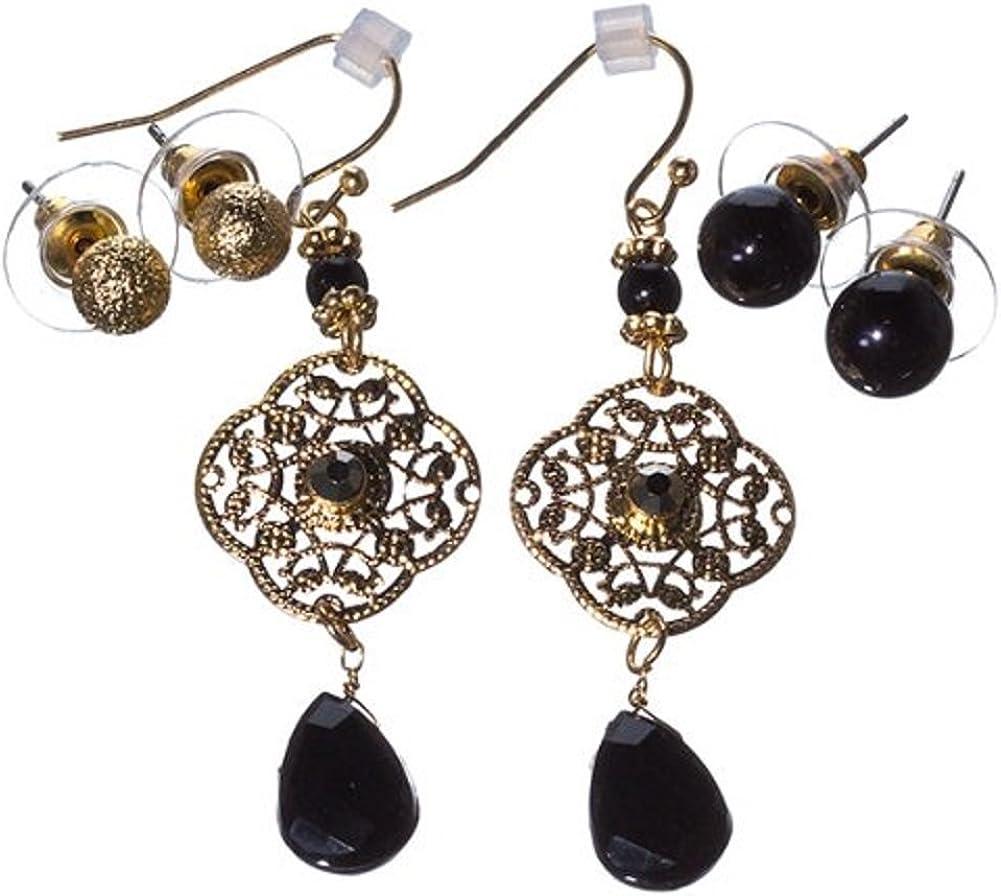 Filigree Crystals Fashion Earrings Set – Ball studs, Glass Pearl Studs & Dangles