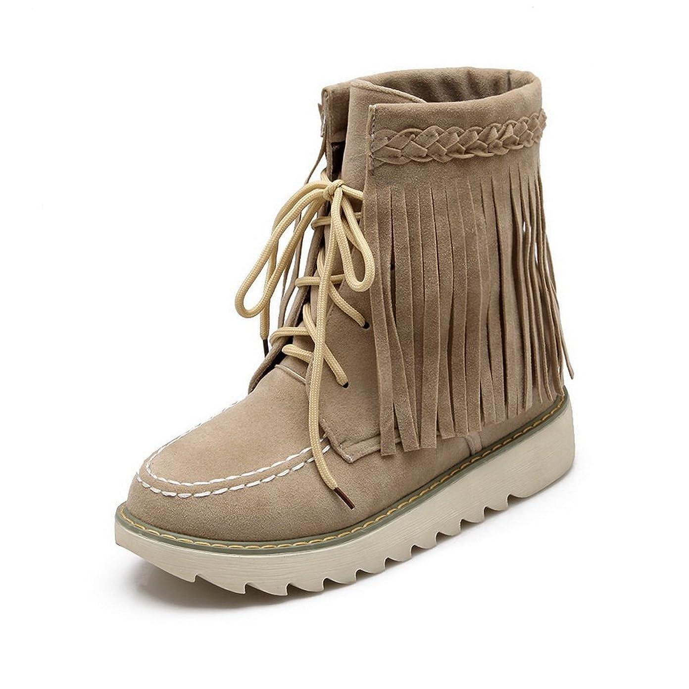 処理する手当書き込みBalaMasa 女性 コンフォート フサ カジュアル ファッションチェックのハイヒール ベージュ ヌバック ブーツ?ブーティ - 24.0cm