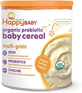 Happy Baby Organic Probiotic Baby Cereal with Choline Multi-Grain, 7 Ounce Canister (Pack..