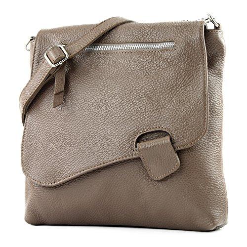 modamoda de - T146 - ital Messengertasche Umhängetasche aus Leder, Farbe:Dunkeltaupe