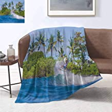 smllmoonDecor Ride The Wave Super Soft Lightweight Blanket Surfer in Ocean by Bali Island Palm Trees Dreamy Nature Scenery Summer Quilt Comforter 90