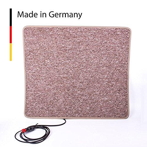 Carbest Heizteppich 12V, 60x70 cm, braun, 50 Watt Wärmematte für Wohnwagen und Wohnmobil