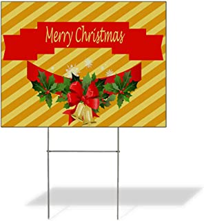 Plastic Weatherproof Yard Sign Merry Christmas Holly Mistletoe Bells Christmas Ornament Christmas White Merry Christmas for Sale Sign Multiple Quantities Available 18inx12in Two Sides Print Set of 3