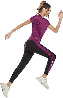 Aibrou Ensemble de Sport 2 Pièce Femme Survêtement Tee Shirt de Sport et Pantalon de Fitness Sportswear pour Running Joggi...
