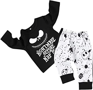 Xmas Baby Boy Girl Clothes 2PCs Outfit Set Nightmare Before Christmas T-Shirt and Skull Pants 0-6T
