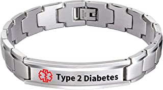 Medical Alert ID Bracelet Classic Steel with Free Link Removal Tool Type 2 Diabetes (Upgraded Version)