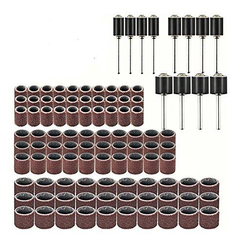 102 STÜCKE Schleifhülsen Schleifwalzen Set, 90 x Schleifband & 12 x Schleifwalze, Bohrmaschine Schleifaufsatz für Holz, Metall, geeignet für Dremel