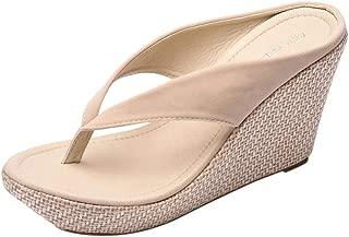 Womens Girls Non-Slip Flip Flops, High Heeled Slippers Clip Toe Post Platform Wedge Sandals Slip on Pool Beach Shoes