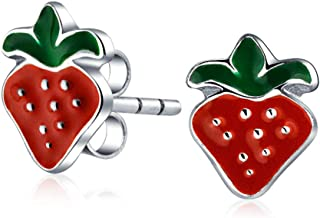 Tiny Orange Rosso Smalto Estate Fruit Anguria Ananas Fragola Apple Stud Orecchini Per Donne Teen Sterling Argento
